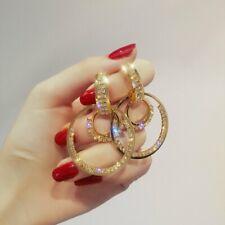 Silver Ring Earrings Women Crystal Geometric Hoop Ear Stud Jewelry Gifts NEW