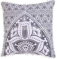 Indian Grey Ombre Mandala Cushion Cover Set Ethnic Cotton Square Pillow Case Art