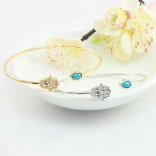 Evil Eye and Hamsa Hand Dainty Bangle Made With Swarovski Crystal and Turquoise