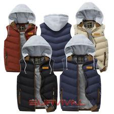 Mens Padded Vest Sleeveless Bomber Jacket Detachable Hood Outer Wear Size S M L