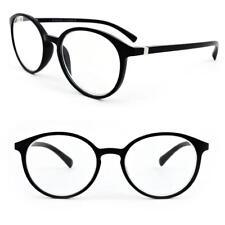 Black Matte Finish Round Frame Geek Retro Style Spring Hinges Reading Glasses