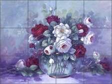 Ceramic Tile Mural Kitchen Backsplash Davenport Roses Flowers Floral POV-WDA005