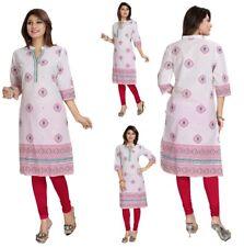 Women Indian Kurta Kurti Dress Top 3/4 Sleeves Tunic Shirt Cotton Printed MM-88