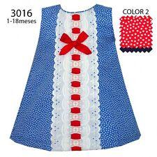 BABY GIRLS SPANISH ROYAL BLUE & RED RIBBON & BOW A LINE POLKA DOT SUMMER DRESS