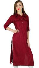 Bimba Women Maroon Collar Neck Kurta Kurti 3/4 Sleeve Ethnic Formal Blouse India