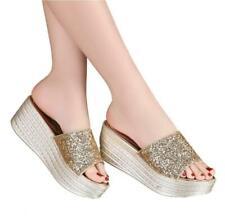 Shiny Womens Slip on Wedges Heel Platform Paillette Sandals Casual Shoes Slipper