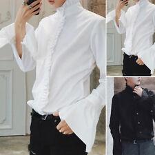MODA Premium uomo gotico camicia vittoriana volant collo PUNK maniche-puff