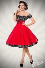 d8e9c77b5b0fda Vestito femminile gonna svasata rosso nero bianco pois retrò vintage uy  50058