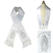 White Satin Stole Sash Baptism Christening Embroidered Virgin Maria Gold Silver
