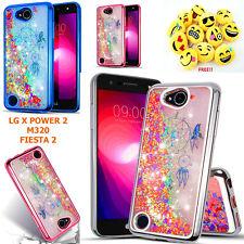 LG X POWER 2,CHARGE, FIESTA 2 Liquid Glitter Flowing Sparkle Shockproof TPU Case