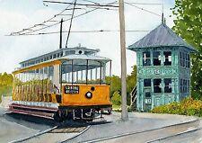 Seashore Trolley Museum Kennebunk Maine Trolley & Tower Matted Art Prints