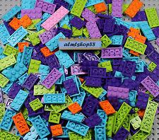 """LEGO - 2x2 2x3 2x4 2x6 Plates """"Friends"""" Color Mix - Azure Pink Lime Purple Lot"""