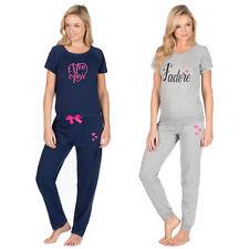 Mujer señoras del basculador salón conjunto pantalón pijama Pantalones Camiseta Top Ropa de Dormir Corazón