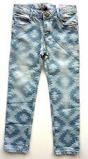 ZARA Girls BLUE Tribal Geometric Print AZTEC SLIM Jeans Trousers 4-6y £17.99