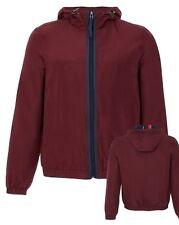Ex Topman Burgundy Sports Rain Hoodie Fleece Jacket Track Top Size 2XS XS S M