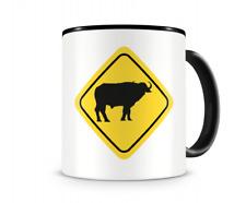 Büffel Warnschild Tasse Kaffeetasse Teetasse Kaffeepott Kaffeebecher Becher