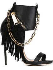 Women Punk Tassel Sexy High Heels Open Toe Fashion Club Party Stiletto Shoes