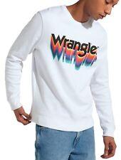 WRANGLER Retro 80 S Funky Grande Logo Girocollo Felpa Felpa Bianco