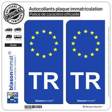 2 Stickers autocollant plaque immatriculation TR Turquie - Identifiant Européen