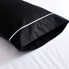 New 100% Premium Cotton 350TC Black Pillow Case Pillow slip White Head Line