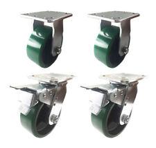 "4 Caster 4"" 5"" 6"" 8"" Polyurethane on Cast Iron Rigid & Total Lock Brake (Green)"