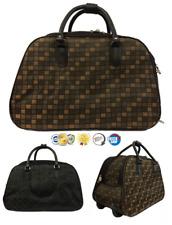 Unisex Check Print Travel Trolley Holdall Women Shoulder Weekend Cabin Size Bag