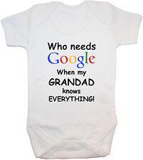 Who Needs Google Grandad Baby Grow/Bodysuit/Romper/T-Shirt NB-24m Funny Gift