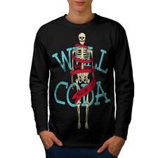 Wellcoda Anatomy Skeleton Mens Long Sleeve T-shirt, Fashion Graphic Design