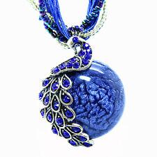 Fashion Bohemia Mediterranean Style Cats Eye Stone Peacock Pendant Necklace