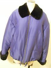 womens blue JONES NEW YORK COAT jacket MEDIUM faux fur zip up dress very clean