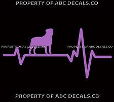 Heart Beat Line Dog Bullmastiff Puppy Pup Adoption Rescue Love Car Vinyl Decal