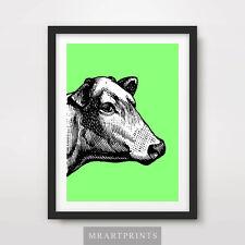 Cartel de impresión arte Vaca De Neón Animal retratos de color Color Pop brillante Ilustración