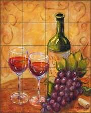 Ceramic Tile Mural Backsplash Margosian Chianti Wine Grape Tuscan Art Jm038