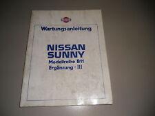 Wartungsanleitung Nissan Sunny B11 Ergänzung 03/1985