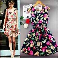 Spring Summer Celebrity Style Women Casual Floral Print Mini Chiffon Dress L