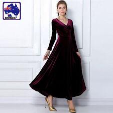 Elegant Lady Pleuche Dress Long Sleeve V Neck Ball Gown Burgundy Maxiskirt L/XL