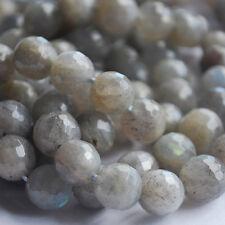 "15""  Genuine Gemstone Labradorite Faceted Round Beads 6mm, 8mm, 10mm - Grade AA"