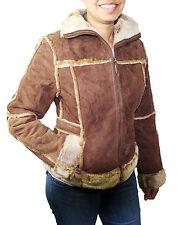 Ladies Genuine Suede Leather Bonded Faux Fur Jacket Style 1221