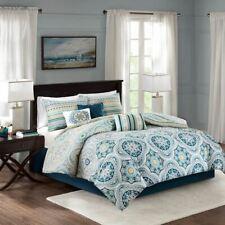 7pc Medallion Print Reversible Cotton Sateen Comforter Set And Decorative Pillow