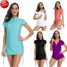 Women Short Sleeve UV Sun Protection UPF 50+ Rash Guard Top One Piece Swim Shirt