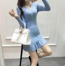 Hot Womens Thicken Autumn Korean Long Sleeve Sweater Knitted Skirt Dress 3 Color