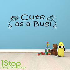 Carino come un bug di adesivi murali preventivo-Camera dei Bambini Vivaio Arte Muro Decalcomania X219