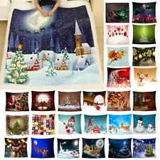 Weihnachtsdecke Doppel Fleece Weihnachten Drucken Weiches Warmes Sofa Decke *
