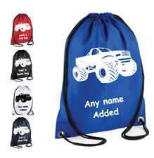 PERSONALISED Premium Drawstring Gymsac MONSTER TRUCK Bag School PE Kit Sport