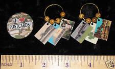 Mini Postcard Hoop Earrings & I Love postcards button