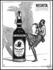 PUBBLICITA' 1930 RHUM NEGRITA BARDINET BORDEAUX OLD NIC RUM  BALLO DANZA CREOLA
