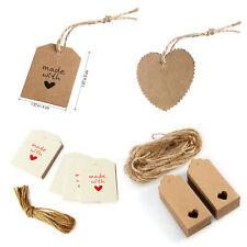 10x Etiketten Kraftpapier braun mit Herzchen Kordel Geschenkanhänger basteln Neu