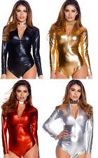 a663791854c Metallic Long Sleeve Body Suit Zip Front Mock Neck Collar Shiny Costume  117703