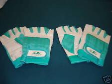 NWOT Women's Fingerless Sport Gloves Size Large 2 Pair White/Teal #191G