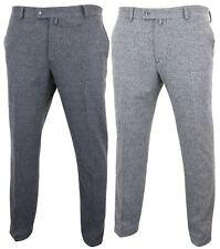 Mens Grey Charcoal Tweed Trousers Herringbone Wool Vintage Retro Peaky Blinders